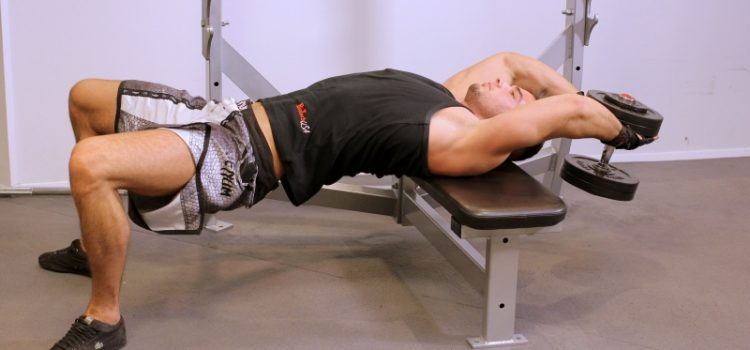 Exercise a pullover with dumbbells lying