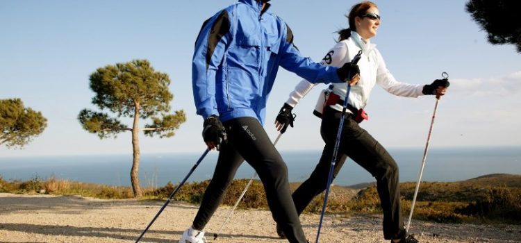 correct technique of Nordic walking with sticks
