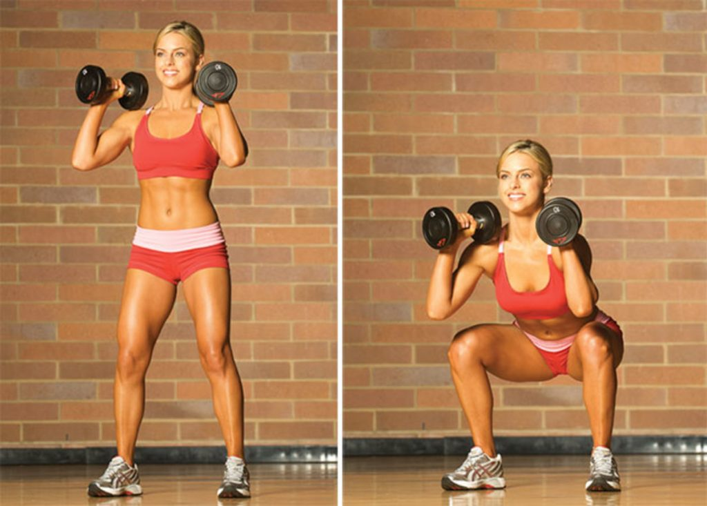 squats with dumbbells female