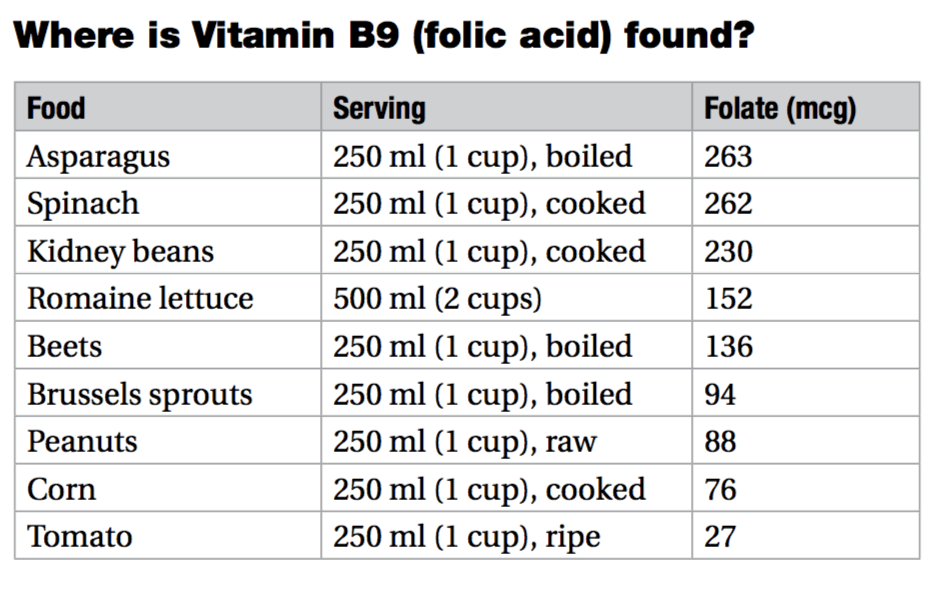 vitamin B9 content in products